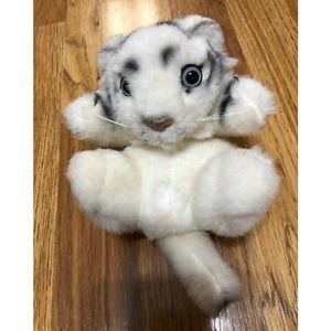 Other - White Tiger Cub New Born Curled up on Back Plush